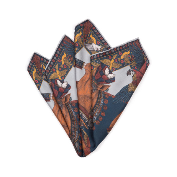 The Ponies and Parrots Navy Chestnut - Neckerchief/Pocket Square