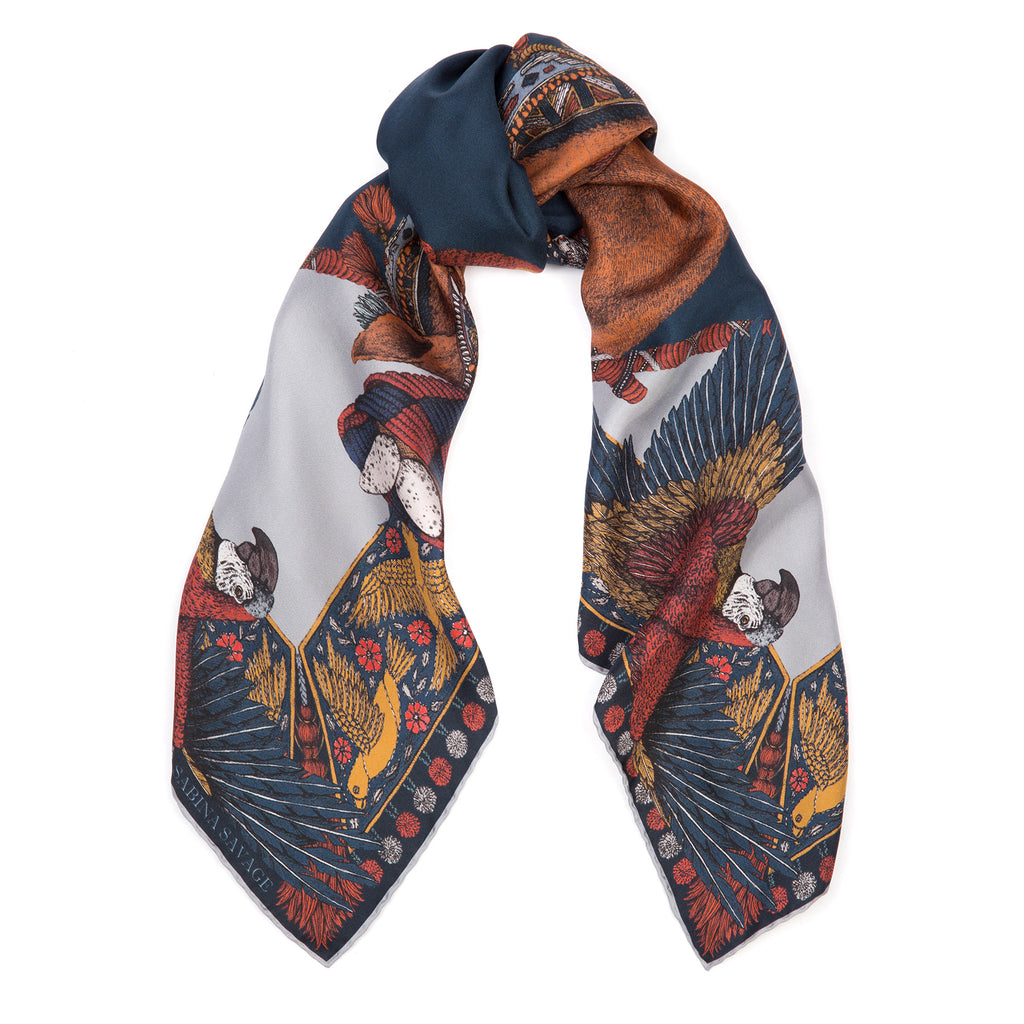 The Ponies and Parrots Navy/Chestnut - Silk