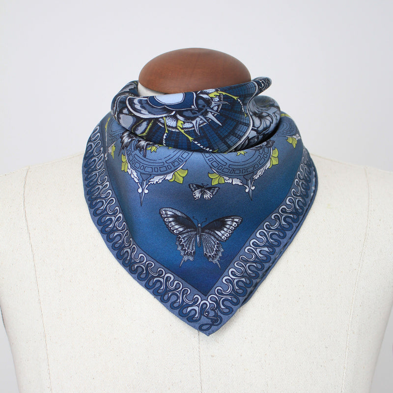 Queen Stag Beetle Neckerchief/Pocket Square - Blue
