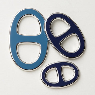 Reversible Scarf Ring - Silver/Blue/Navy
