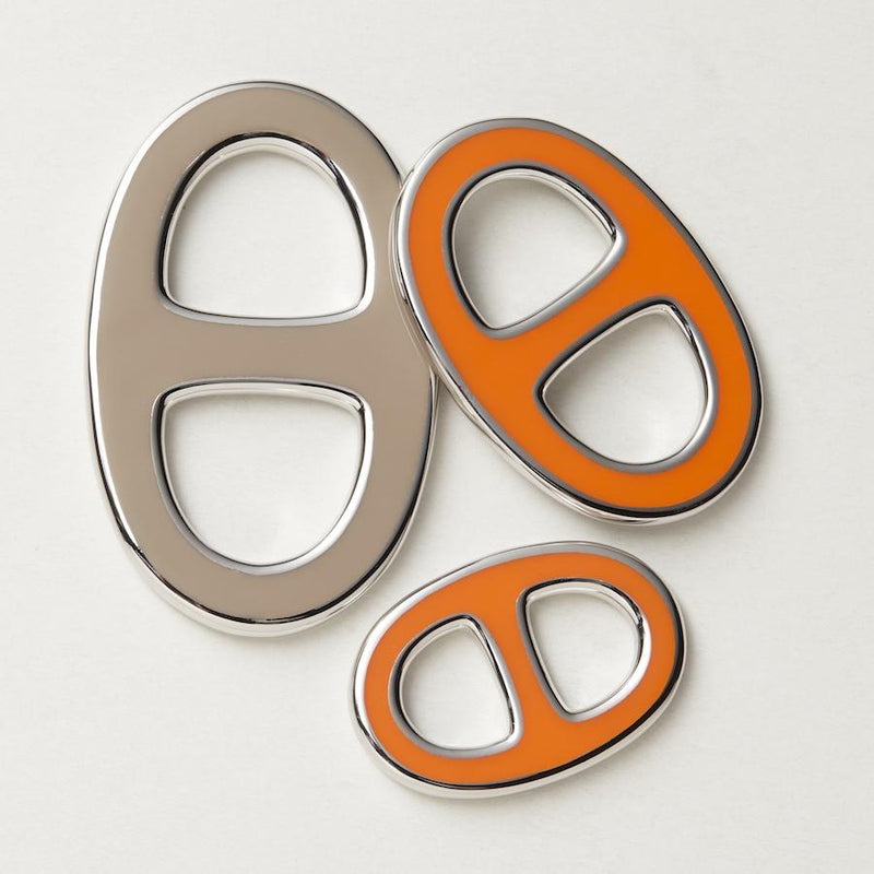 Reversible Scarf Ring - Silver/Orange/Taupe