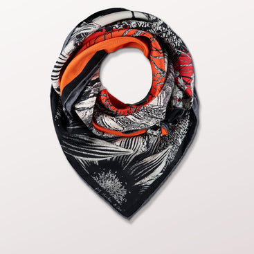 Moonphase 04 Fish by Pig, Chicken and Cow luxury scarf at Beyond Scarf, Calgary, Alberta, Canada