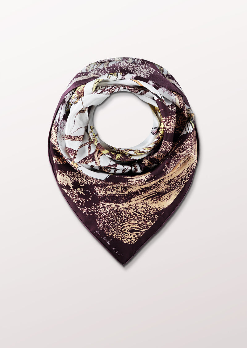 Reincarnation by Pig, Chicken and Cow luxury scarf at Beyond Scarf, Calgary, Alberta, Canada