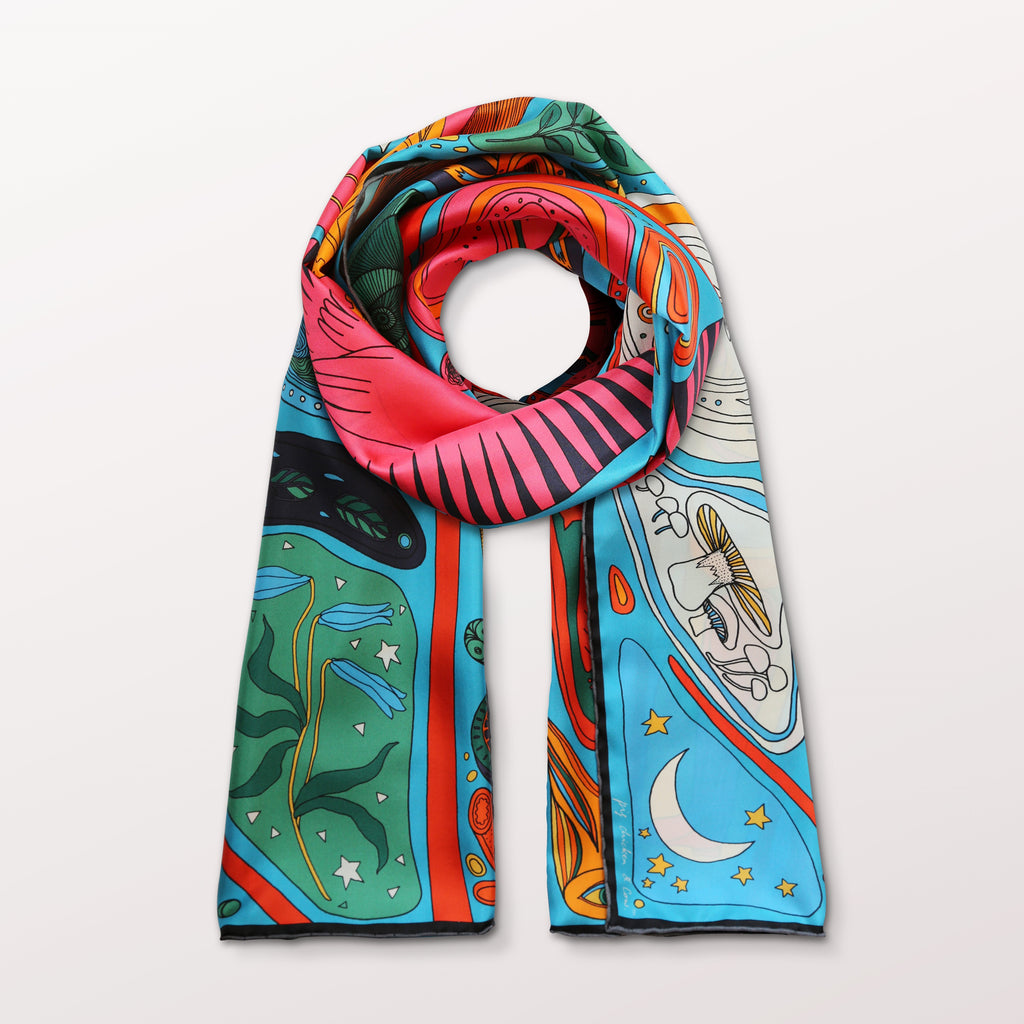 The Birth in Blue by Pig, Chicken and Cow luxury scarf at Beyond Scarf, Calgary, Alberta, Canada