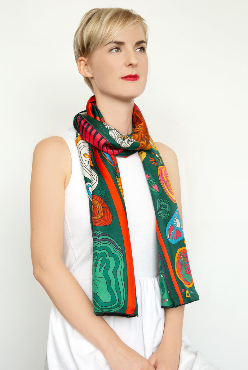 The Birth in Green by Pig, Chicken and Cow luxury scarf at Beyond Scarf, Calgary, Alberta, Canada