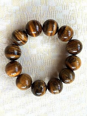 Genuine Semi-Precious Natural Tiger Eye Stone Bracelet (8001), 17mm Beads