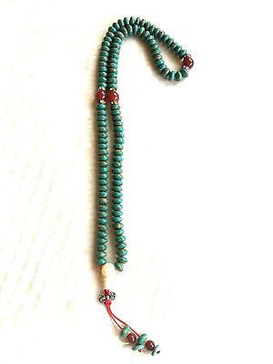 Handmade Turquoise Mala Necklace(8008), 108 Beads, 10mm oblate bead