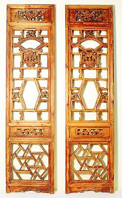 Antique Chinese Screen Panels (5120) (Pair) Cunninghamia Wood, Circa 1800-1849