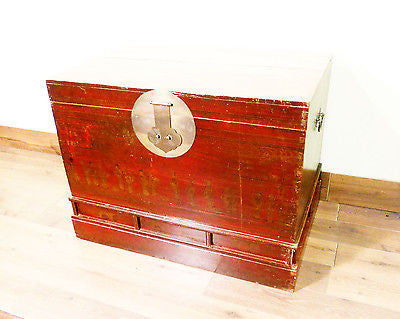 Antique Chinese Trunk (5482), Hand Painted Red Lacquer , Circa 1800-1849