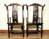 Antique Chinese High Back Arm Chairs (5422) One Pair, Circa 1800-1849