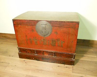 Antique Chinese Hand Painted Trunk (5712), Red Lacquer, Circa 1800-1849