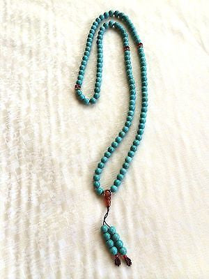Handmade Turquoise Mala Necklace(8005), 108 Beads at 7mm Each