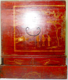 Antique Chinese Hand Painted  Red Trunk (2649), Circa 1800-1849