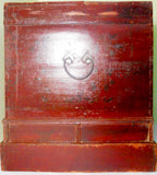 Antique Chinese Hand Painted  Red Trunk (2652), Circa 1800-1849