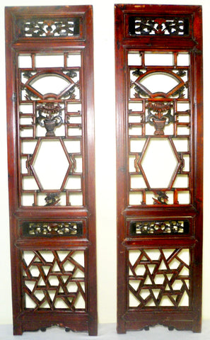 Antique Chinese Screen Panels (2695)(Pair) Cunninghamia Wood, Circa 1800-1849