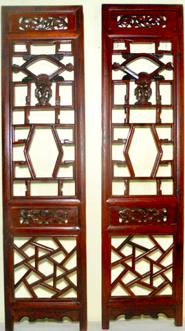 Antique Chinese Screen Panels (2710)(Pair) Cunninghamia Wood, Circa 1800-1849