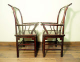 Antique Chinese High Back Arm Chairs (5731) (Pair) Cypress Wood, Circa 1800-1849