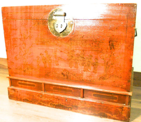 Antique Chinese Hand Painted Red Trunk (5781), Circa 1800-1849