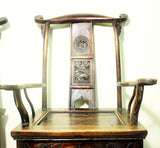 Antique Chinese High Back Arm Chairs (5813)(Pair, Circa 1800-1849