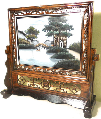 Antique Chinese Reverse Glass Painting On Stand (5847)
