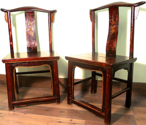 Antique Chinese High Back Chairs (Pair) (5852), Circa 1800-1849