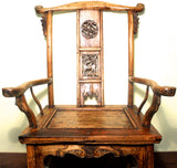 Antique High Back Arm Chairs (5855) (Pair), Cypress/Elm Wood, Circa 1800-1849