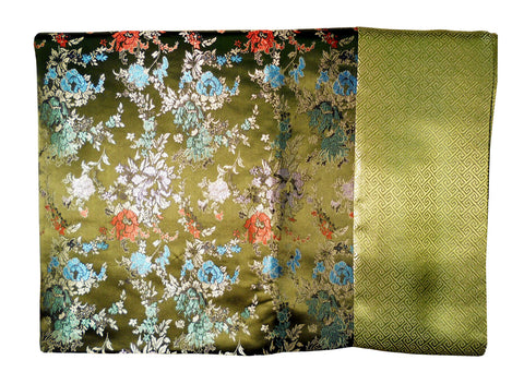 Custom-Made in USA, Art Silk Throw or Bed Scarf, (6104) Multi-Color