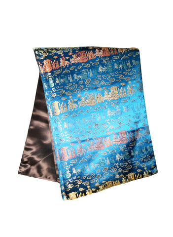 Custom-Made in USA, Art Silk Throw or Bed Scarf (6122), Multi-Color