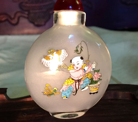 Vintage Chinese Glass Snuff Bottle, Inside Painted Children Playing/Calligraphy (7027)