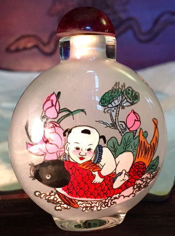 Vintage Chinese Glass Snuff Bottle, Inside Painted Children Playing/Calligraphy (7033)