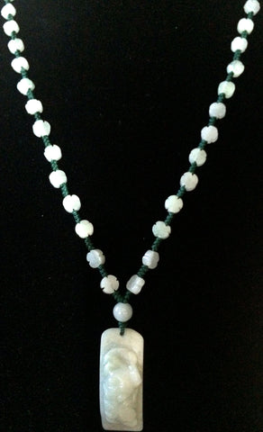 Natural Jadeite Celadon Green Jade Necklace (7046)