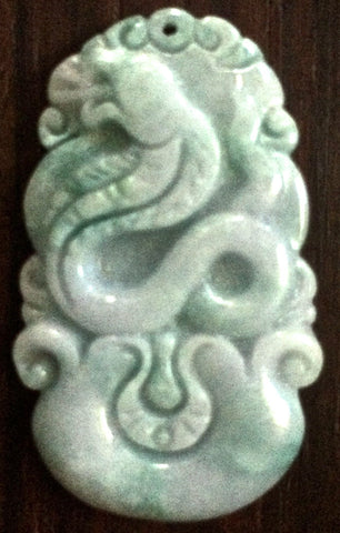 Natural Jadeite Celadon Green Jade Tablet/Pendant (7087)