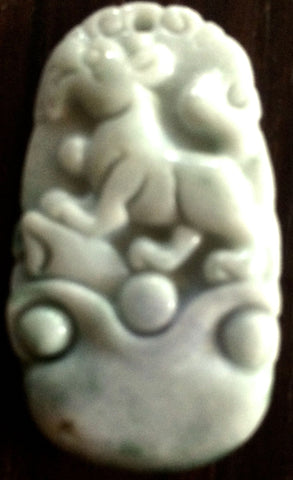 Natural Jadeite White/Green Jade Tablet/Pendant (7169B)