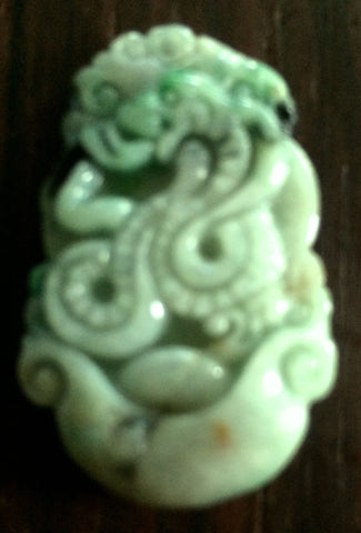 Natural Light Celadon Green Jade Tablet/Pendant (7190A)