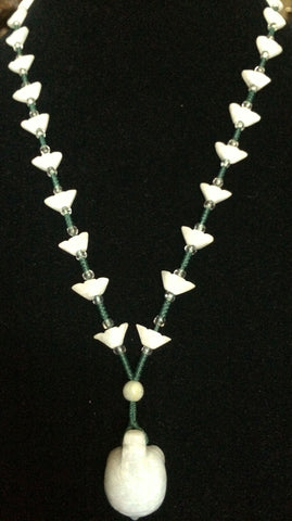 Natural Jadeite Light Celadon Green Jade Necklace (8087)