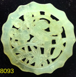 Natural Jadeite Translucent Celadon Green Jade Tablet/Medallion/Pendant (8093)