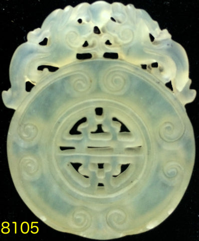 Natural Jadeite Translucent Light Celadon Green Jade Tablet/Medallion/Pendant (8105)