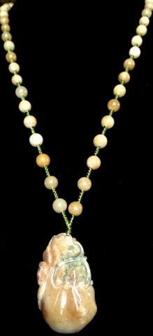 Natural Jadeite Untreated Light Brown Jade Necklace (8114)