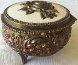 Vintage Gold Embossed/Enameled Footed Jewelry/Trinket Box (8156), Made in Japan