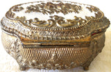 Vintage Gold Metal Embossed/Enameled Footed Jewelry/Trinket Box (8158), Made in Japan