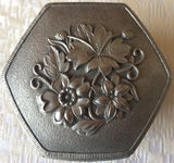 Vintage Silver-Plated Embossed Jewelry/Trinket Box (8166), Made in Japan