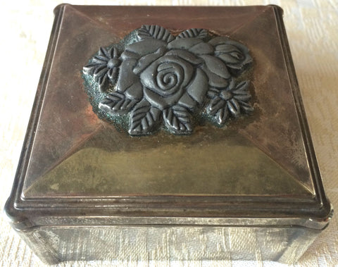 Vintage Silver-Plated Embossed Jewelry /Trinket Box (8172), Made in Japan