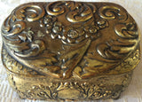 Vintage Japanese Gold Medal Embossed Footed Jewelry /Trinket Box (8173)