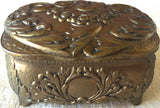 Vintage Japanese Gold Medal Embossed Footed Jewelry /Trinket Box (8174)