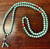 Handmade Turquoise Mala Necklace, 108 Beads (8302)