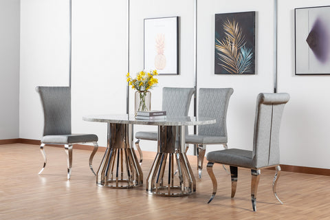 7STAR LORCAN DINING TABLE HIGH GLOSS MARBLE WITH CHROME LEGS DIFFERENT DINING CHAIRS AVAILABLE