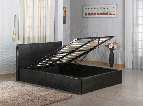 7STAR OTTOMAN Black Faux Leather Double 4ft6, Small Double 4ft and single 3ft with Storage Bed Budget Unbeatable Price
