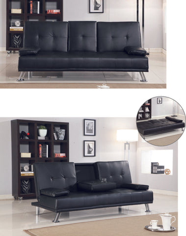7star comfy Black faux Leather Sofabed with Chrome silver legs and 2 cup holder.