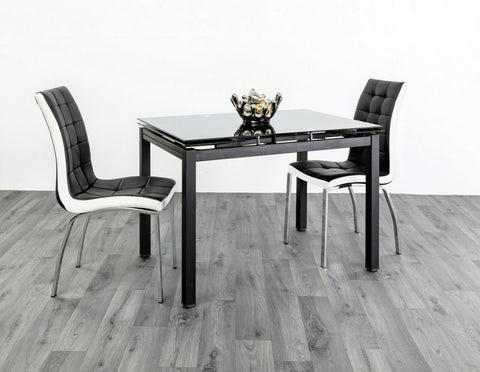 Extending Black Tempered Glass Dining Table with 4 or 6 faux leather chairs