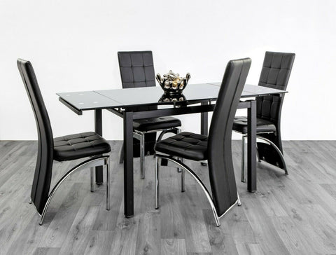 7star Extending Black Tempered Glass Dining Table with 4 Chairs Faux Leather